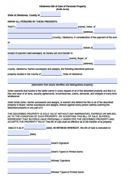 Free Oklahoma Personal Property Bill of Sale Form | PDF | Word (.doc)