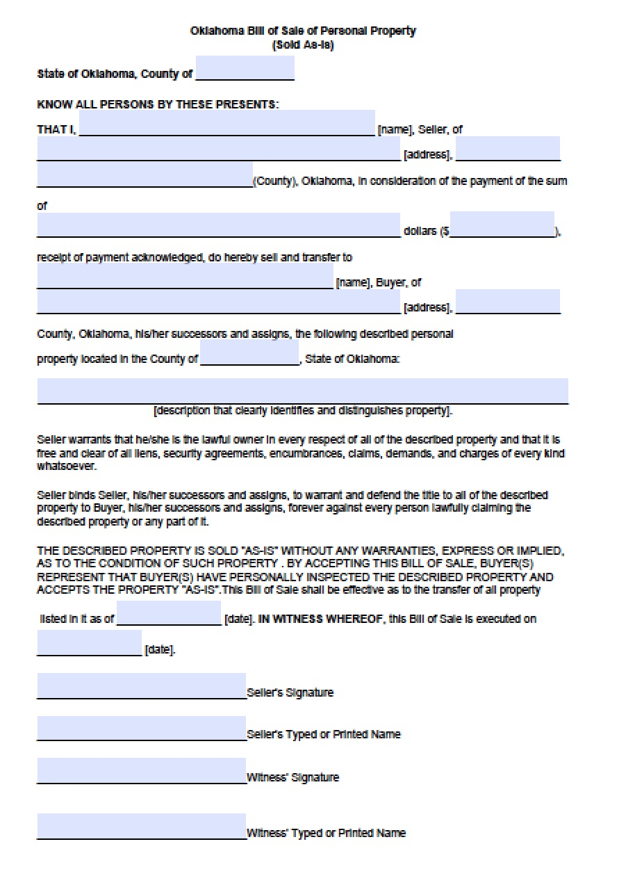 free oklahoma personal property bill of sale form pdf word doc