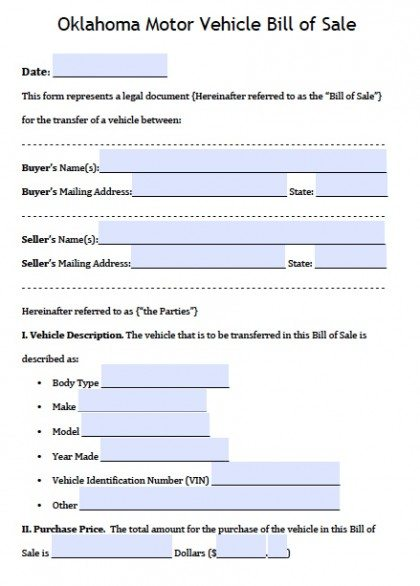 Oklahoma Motor Vehicle Bill Of Sale Form