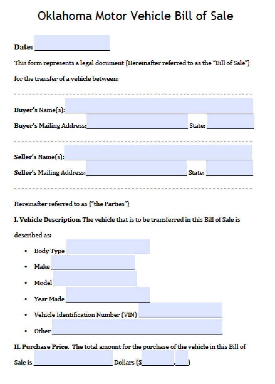 Free Oklahoma Dps Motor Vehicle Bill Of Sale Form Pdf Word Doc