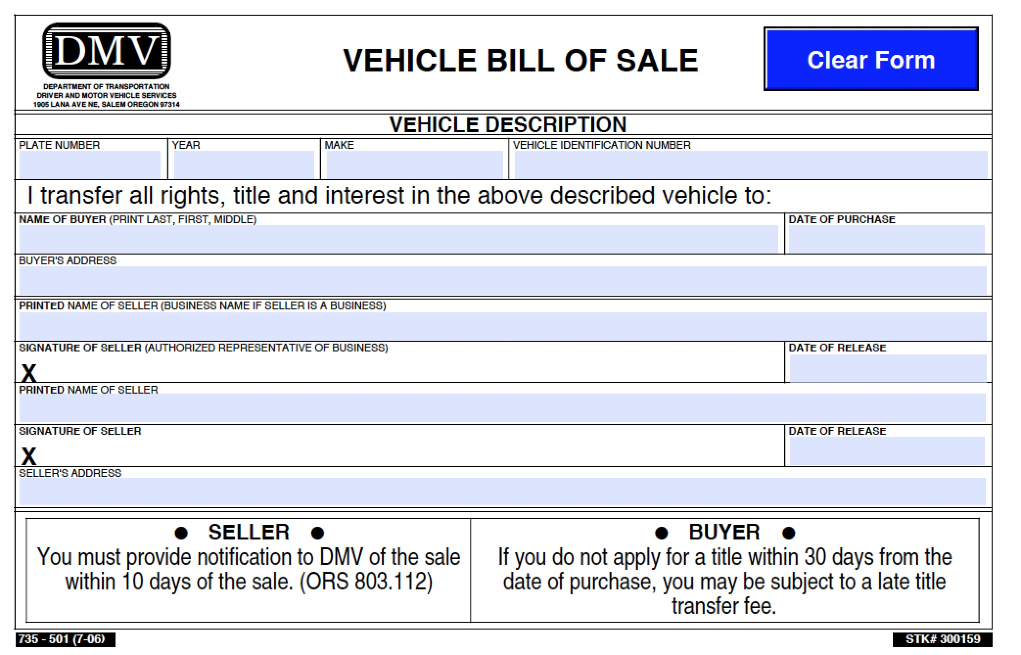 Free Oregon Dmv Vehicle Bill Of Sale 501 Form Pdf