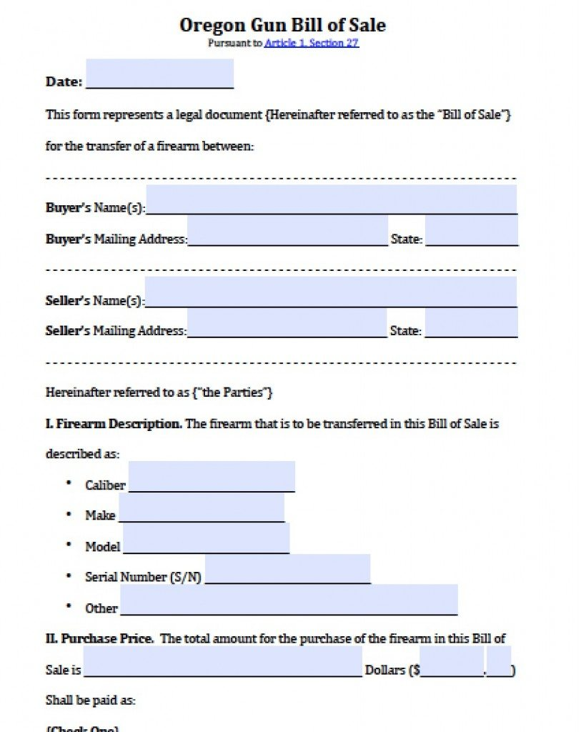 free oregon firearm gun bill of sale form pdf word doc