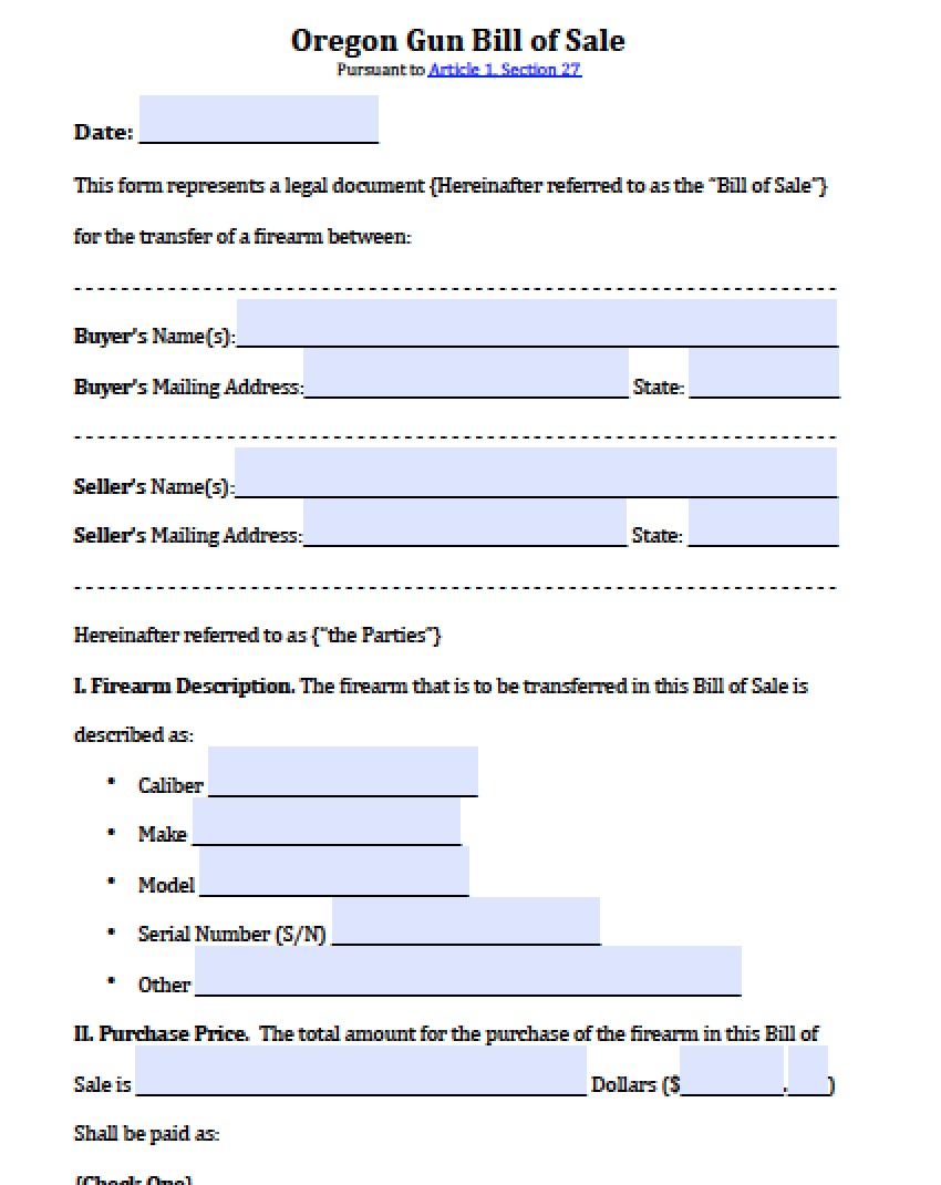 Free Oregon Firearm/Gun Bill of Sale Form | PDF | Word (.doc)