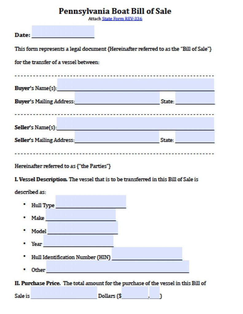 Free Pennsylvania Boat Bill Of Sale Form Pdf Word Doc