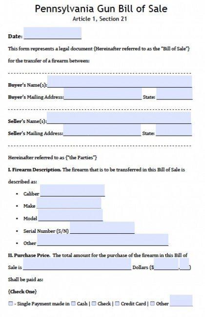 Pennsylvania Gun Bill of Sale