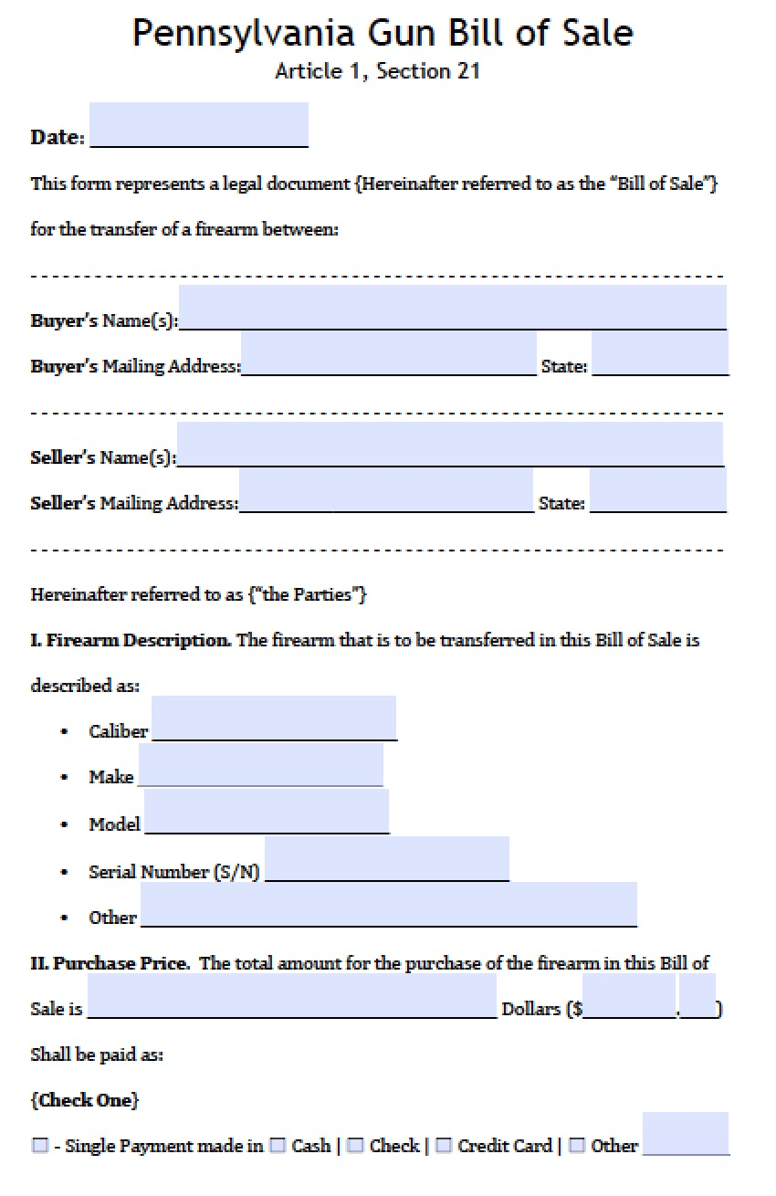 Firearm bill of sales