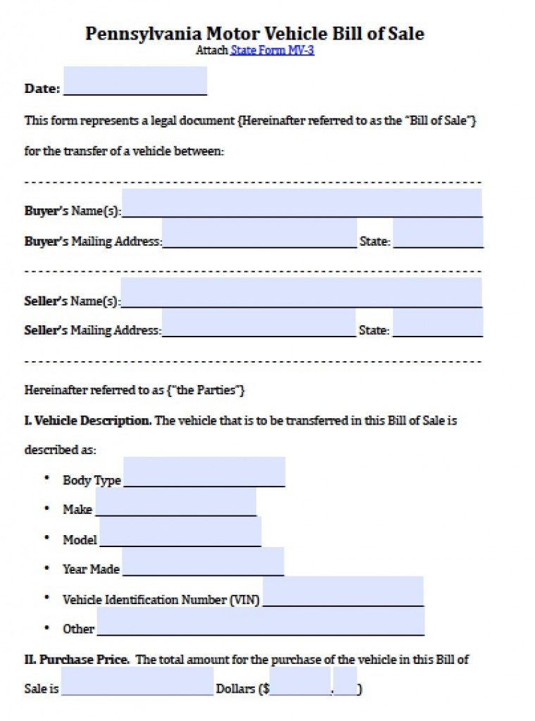 Free Pennsylvania Motor Vehicle Bill Of Sale Form  Pdf  Word Doc