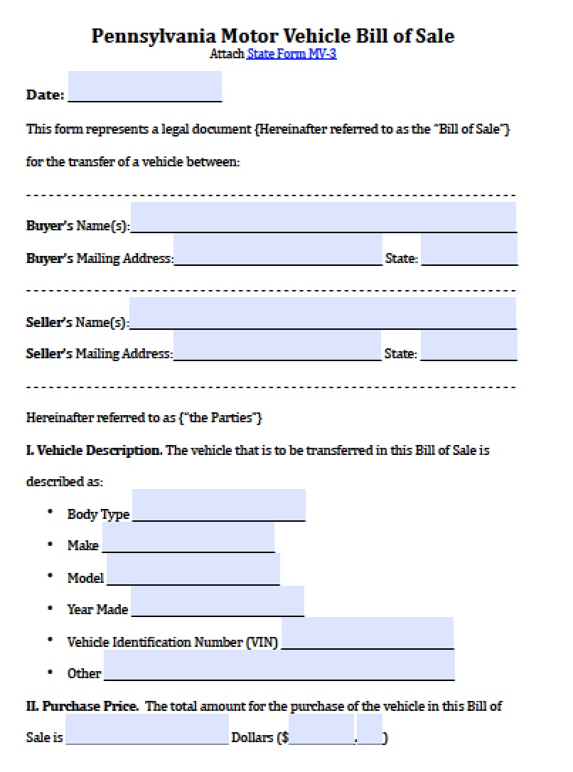 Free Pennsylvania Motor Vehicle Bill of Sale Form | PDF | Word (.doc)
