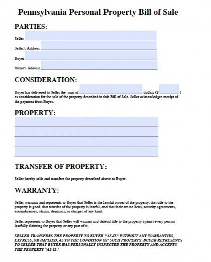 Free Pennsylvania Personal Property Bill of Sale Form | PDF | Word ...