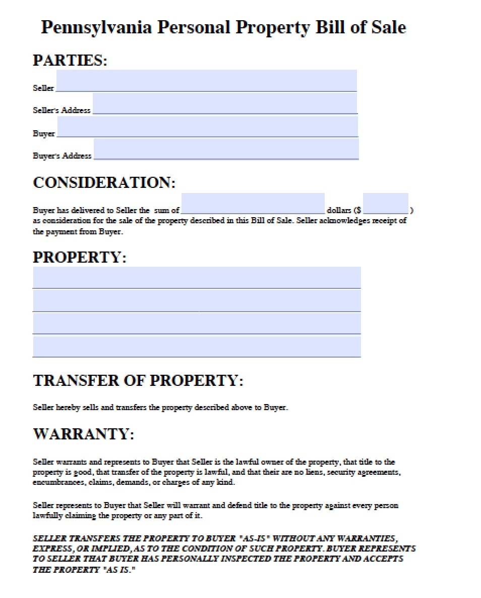 ... Pennsylvania Personal Property Bill of Sale Form | PDF | Word (.doc