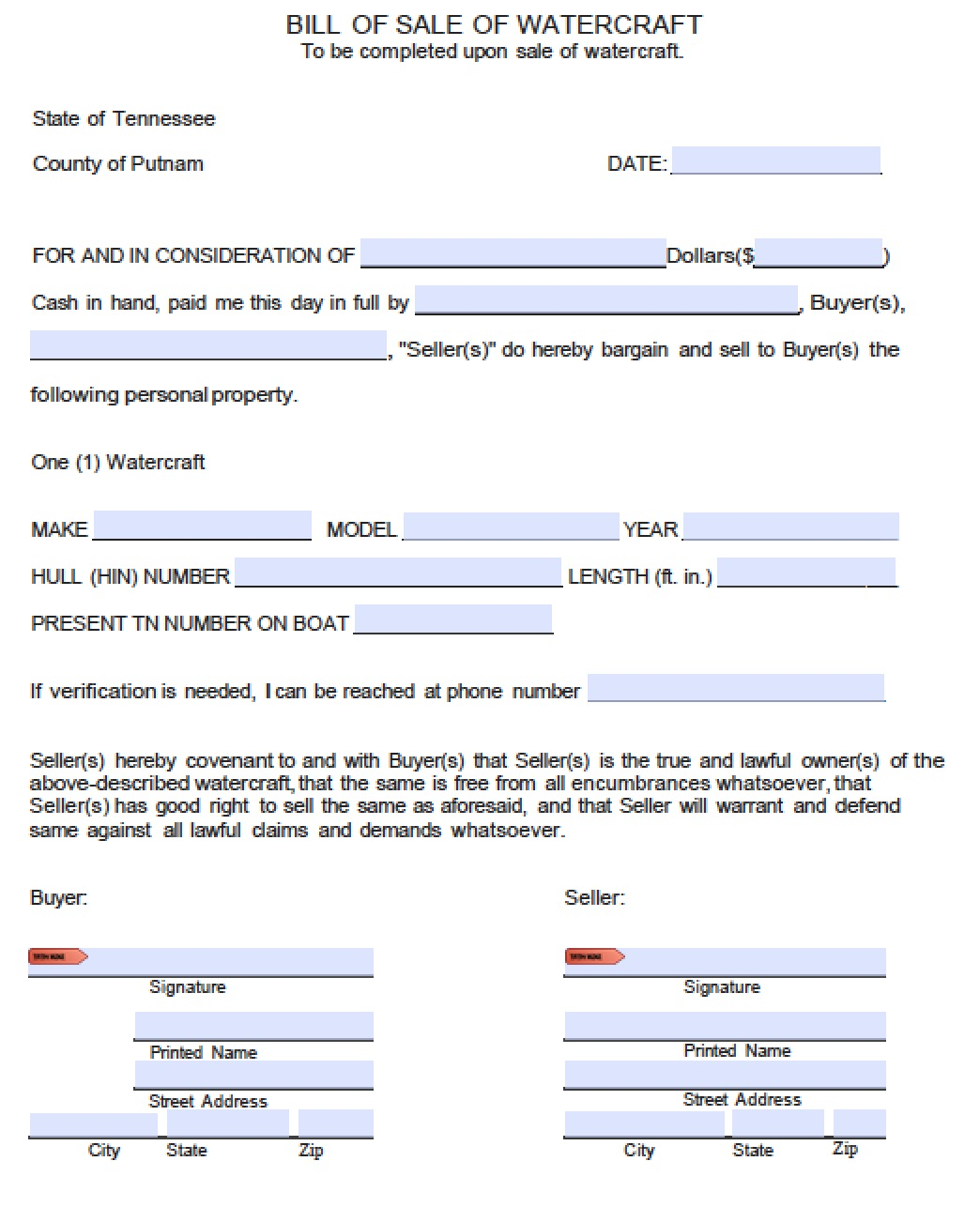Free Putnam County, Tennessee Bill Of Sale Form