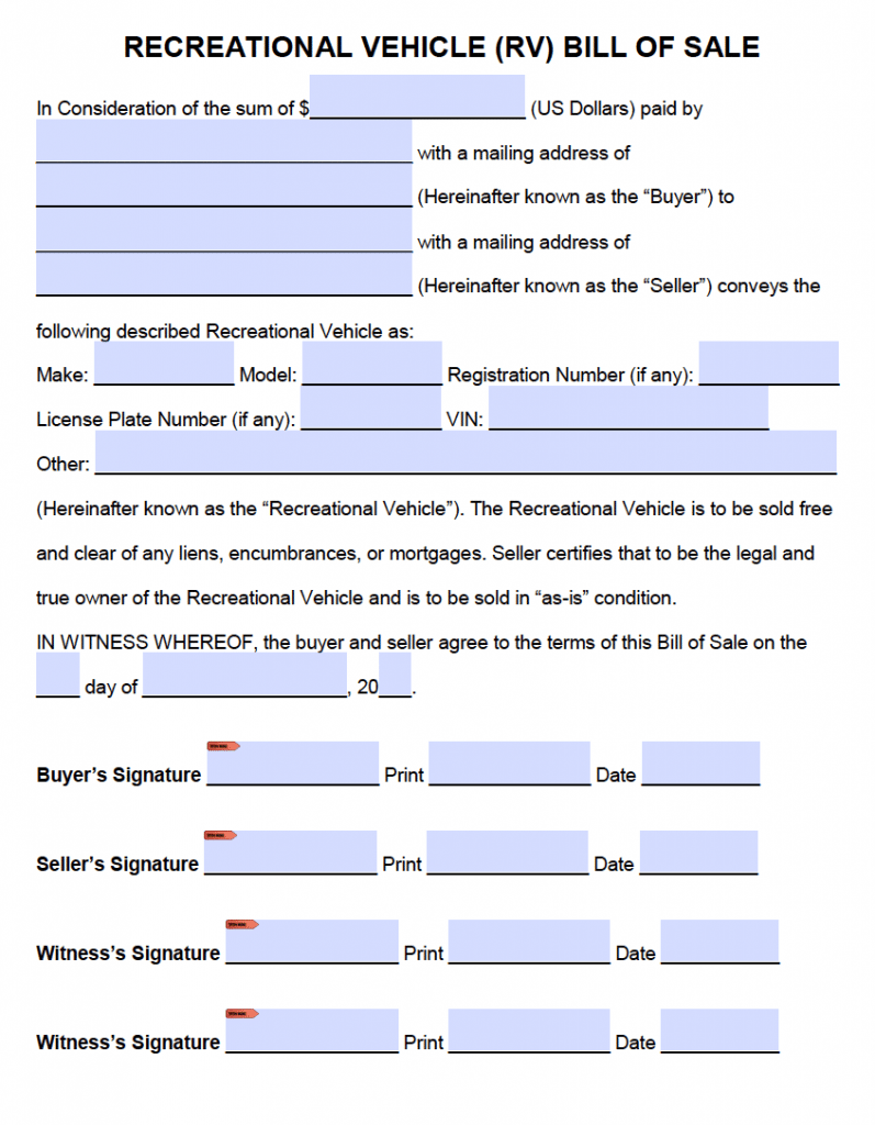bill of sale for rv Free Recreational Vehicle (RV) Bill of Sale Form | PDF | Word (.doc)