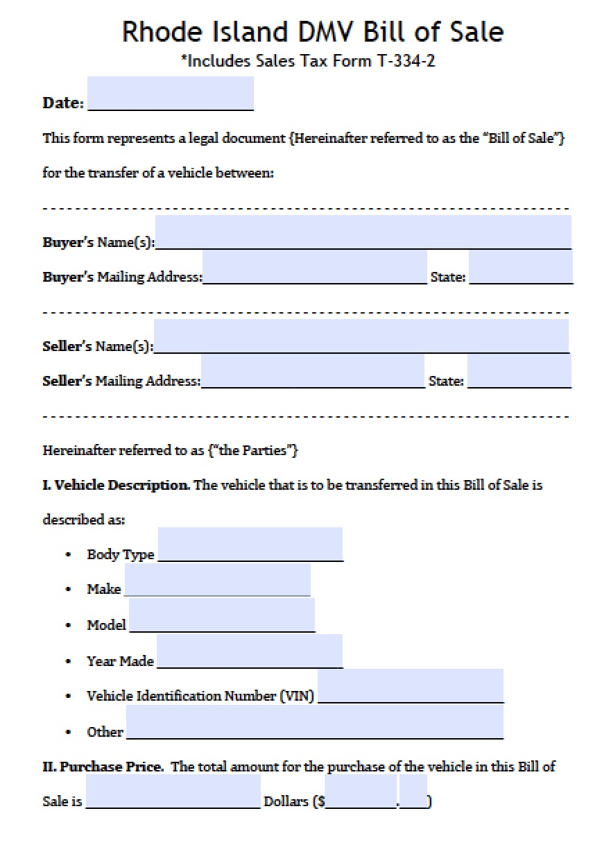Rhode Island DMV (Vehicle) Bill Of Sale  Bill Of Sale Template Doc