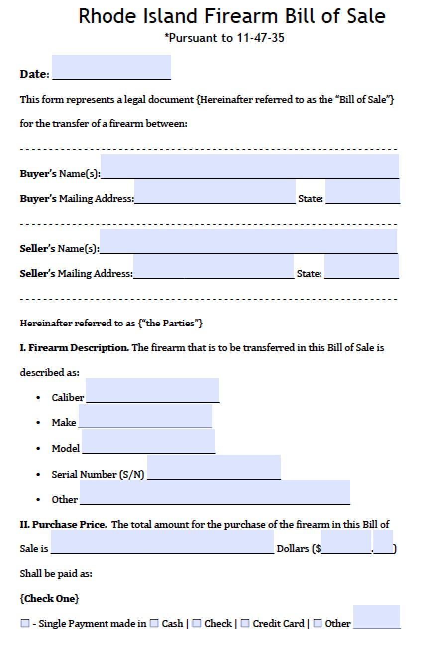 Rhode Island Bill Of Sale