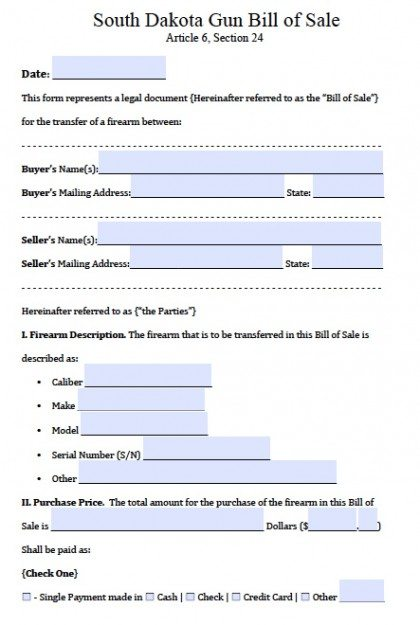 Free South Dakota FirearmGun Bill Of Sale Form  Pdf  Word Doc