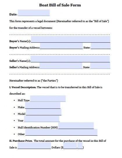 Boat / Vessel  Free Template For Bill Of Sale
