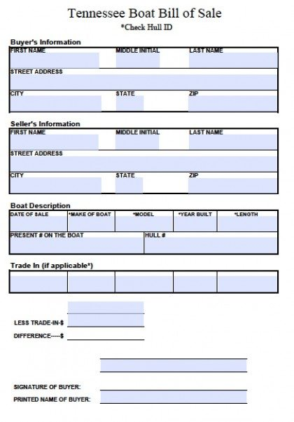 Free Tennessee Boat Bill Of Sale Form  Pdf  Word Doc