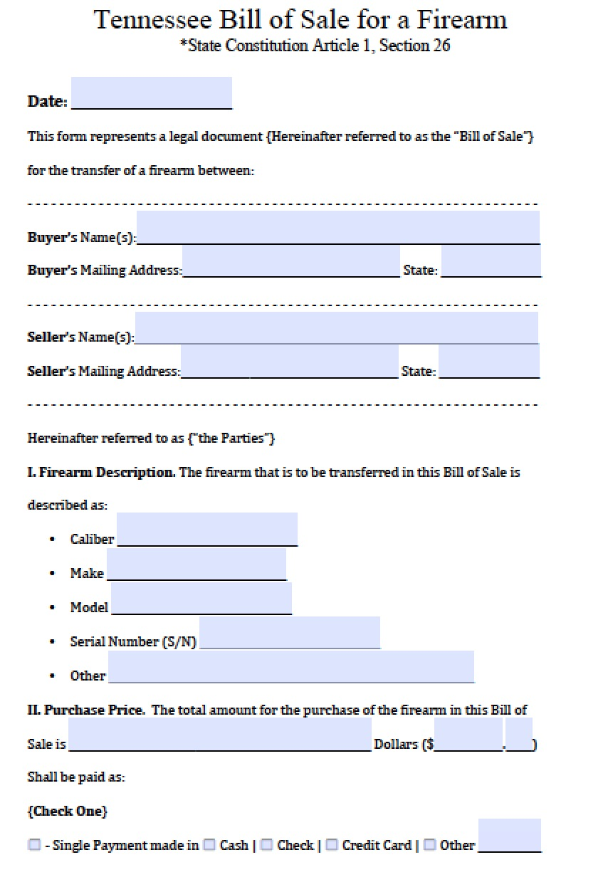 Free Tennessee FirearmGun Bill of Sale Form PDF – Firearms Bill of Sale