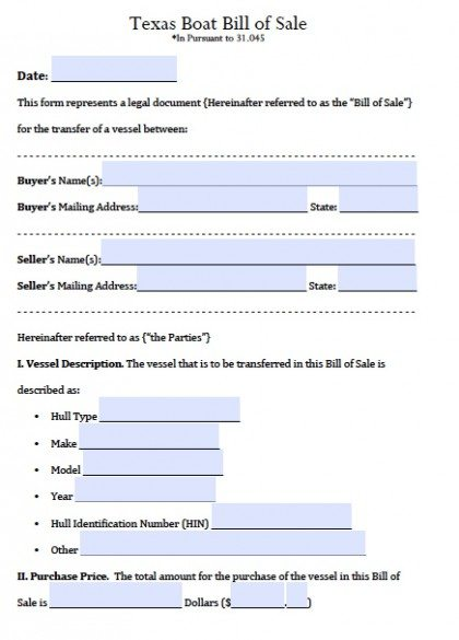 Free Texas Boat Bill Of Sale Form | Pdf | Word (.Doc)