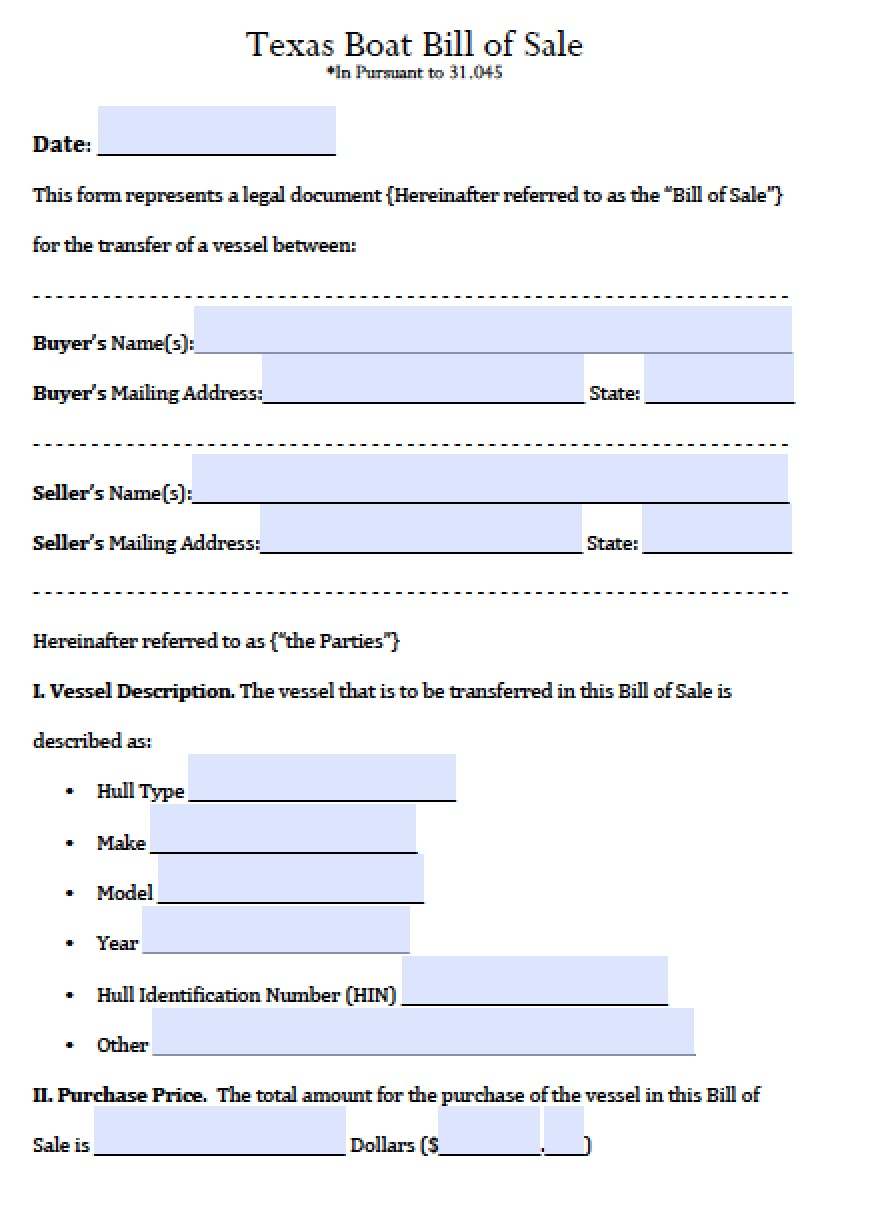Free Texas Boat Bill of Sale Form PDF – Microsoft Office Bill of Sale Template