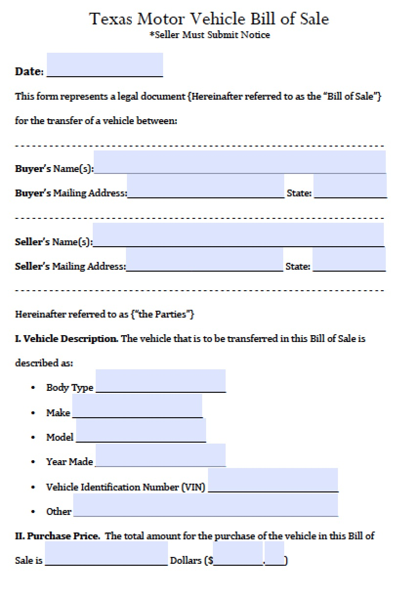 Free Texas Motor Vehicle Bill of Sale Form PDF – Bill of Sale for Car