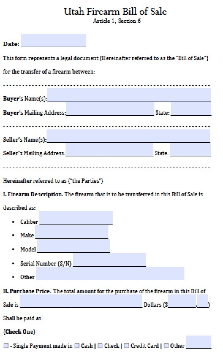 Free Utah FirearmGun Bill Of Sale Form PDF Word Doc - Invoice template download pdf gun store online