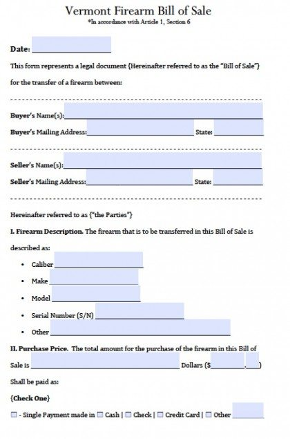 Free Vermont FirearmGun Bill Of Sale Form  Pdf  Word Doc