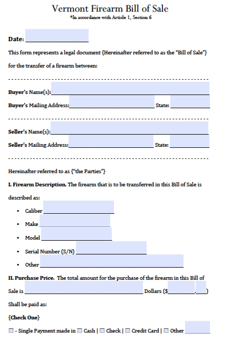 Free Vermont Manufactured Mobile Home Bill Of Sale Form