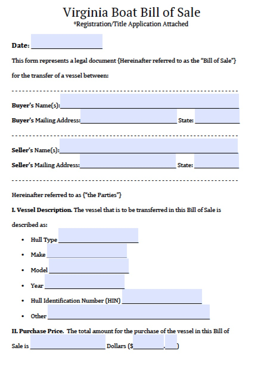 bill of sale virginia Free Virginia Boat Bill of Sale Form | PDF | Word (.doc)