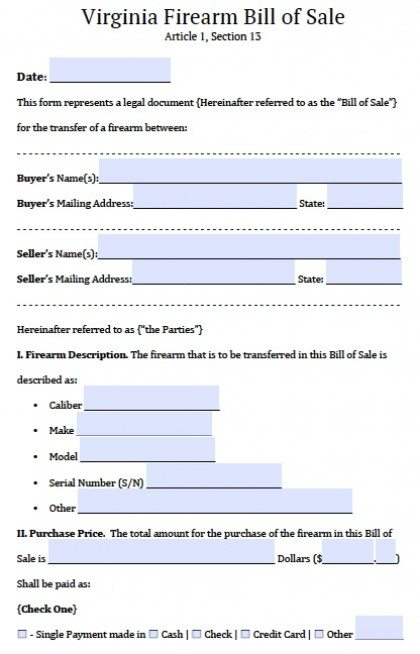 Bill Of Sale Virginia >> Free Virginia Firearm Gun Bill Of Sale Form Pdf Word Doc