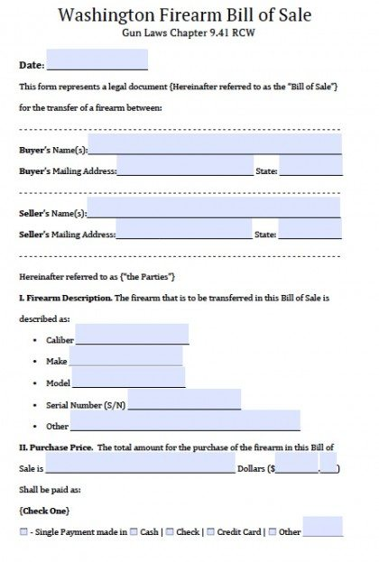 Free Washington Firearm Gun Bill Of Sale Form Pdf Word