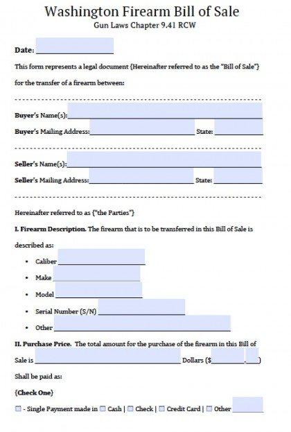 Free Washington FirearmGun Bill Of Sale Form  Pdf  Word Doc