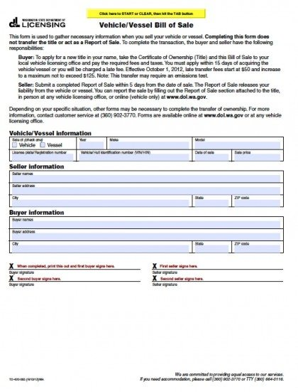 Free Washington Vehicle/Vessel Bill Of Sale Form | Pdf | Word (.Doc)