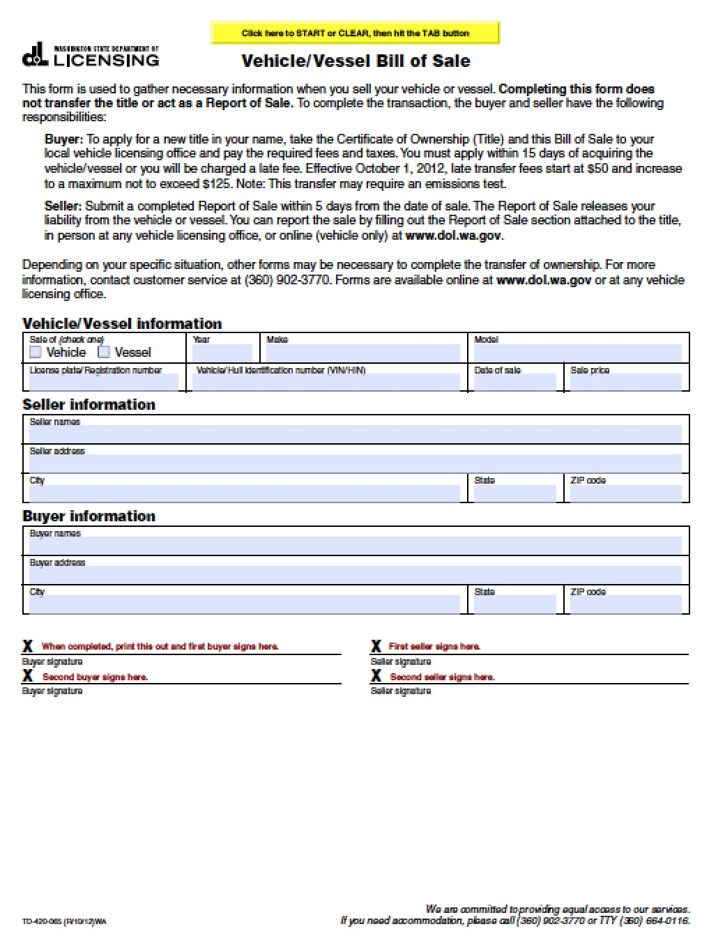 bill of sale wa Free Washington Vehicle/Vessel Bill of Sale Form | PDF | Word (.doc)