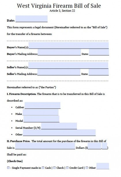 Free West Virginia FirearmGun Bill Of Sale Form  Pdf  Word Doc
