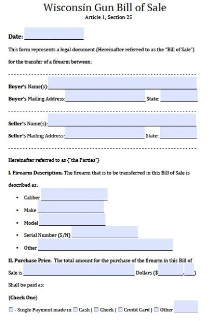Free Wisconsin Firearm/Gun Bill Of Sale Form | Pdf | Word (.Doc)