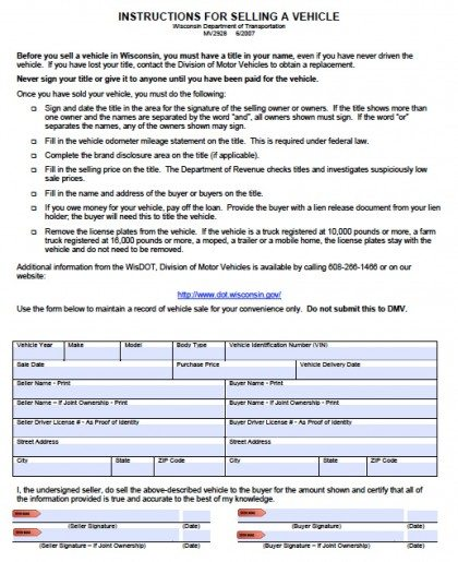 Free Wisconsin Dmv Vehicle Bill Of Sale Form  Pdf  Word Doc