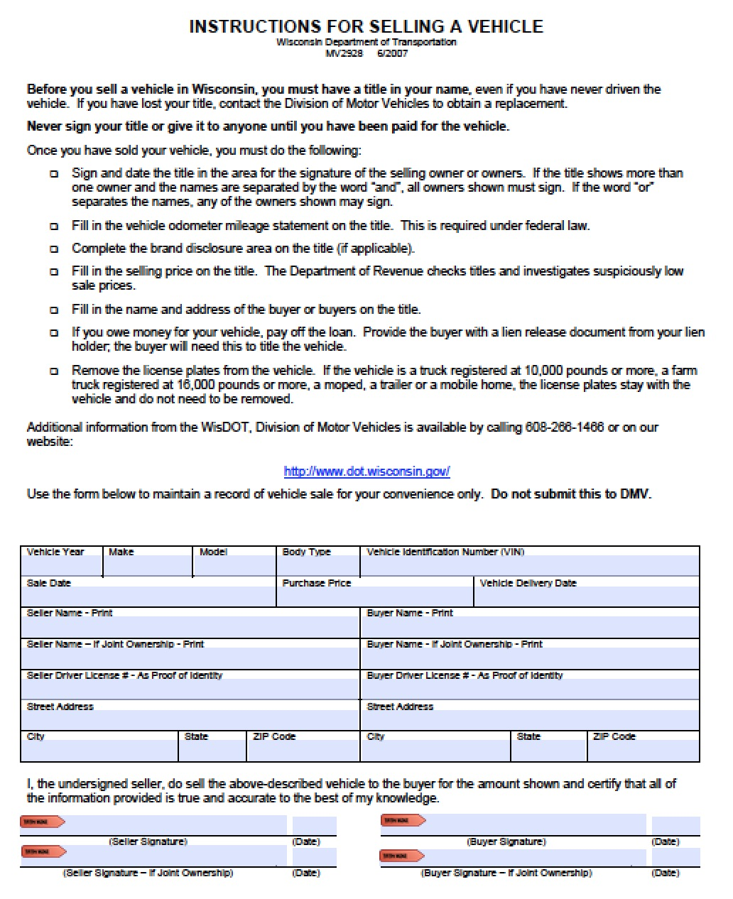 Free Wisconsin Dmv Vehicle Bill Of Sale Form Pdf