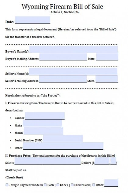 Free Wyoming FirearmGun Bill Of Sale Form  Pdf  Word Doc