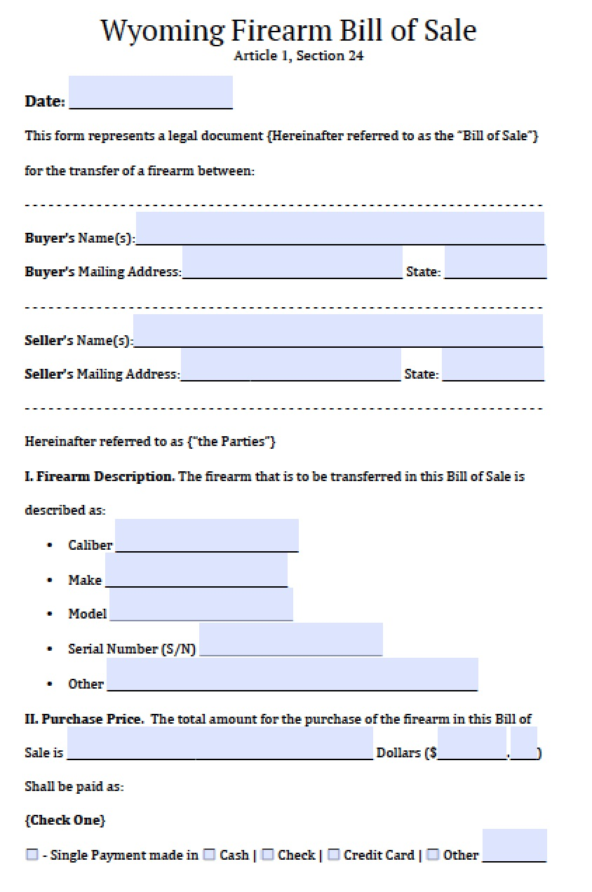 free wyoming firearm gun bill of sale form pdf word doc