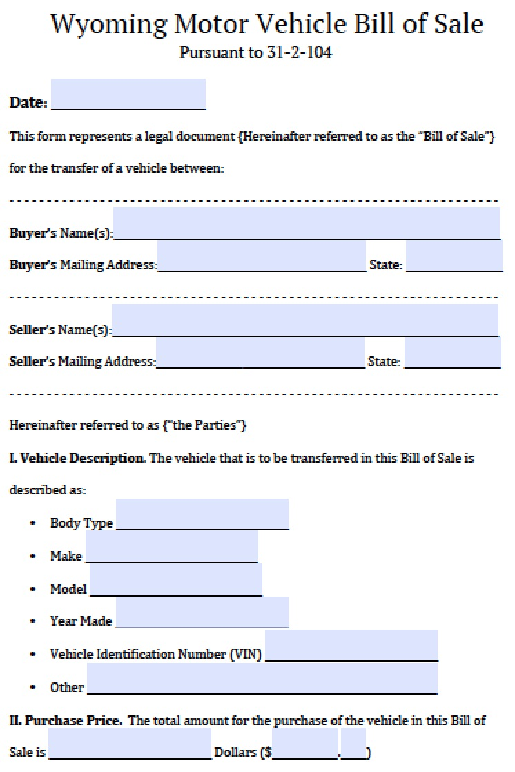 free wyoming motor vehicle bill of sale form pdf word doc